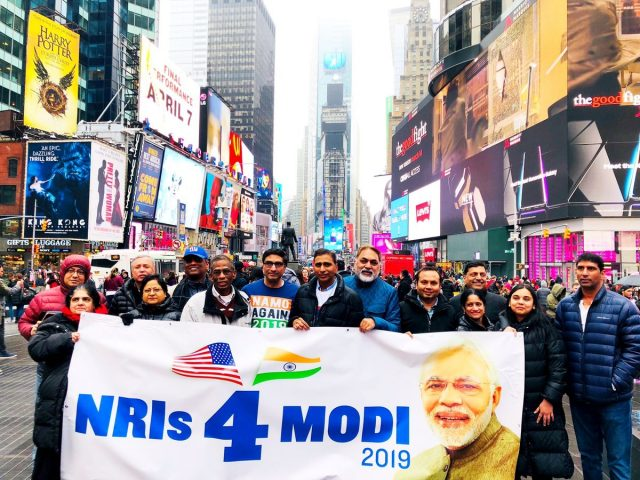 New York: Overseas Friends of BJP and NRIs4Modi at a rally in support of the BJP and Prime Minister Narendra Modi at New York's Times Square in March, 2019. (Photo: NRIs4Modi Tweet) by .