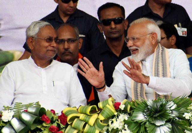 Muzaffarpur: Prime Minister Narendra Modi and Bihar Chief Minister Narendra Modi during a BJP rally in Bihar's Muzaffarpur on April 30, 2019. (Photo: IANS) by .