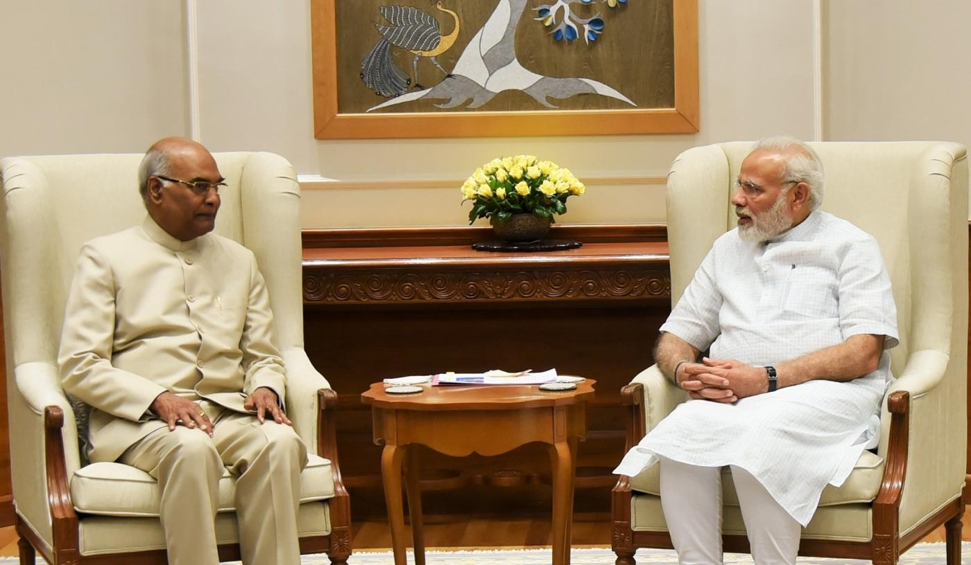 New Delhi: Bihar Governor Ram Nath Kovind and the Presidential candidate of the ruling National Democratic Alliance (NDA) meets Prime Minister Narendra Modi in New Delhi on June 19, 2017. (Photo: IANS/PIB) by .