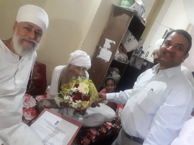 New Delhi: 111-year old Bachchan Singh, said to be Delhi's oldest voter. (Photo: IANS) by .