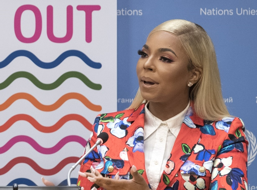 Grammy Award-winning singer-songwriter and actress Ashanti speaks to reporters at the United Nations on Tuesday, April 30, 2019. (Photo: UN/IANS) by .