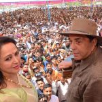 Mathura: Veteran actor Dharmendra during a campaign on behalf of his wife, actress and BJP's MP Hema Malini in Mathura, on April 14, 2019. (Photo: IANS) by .