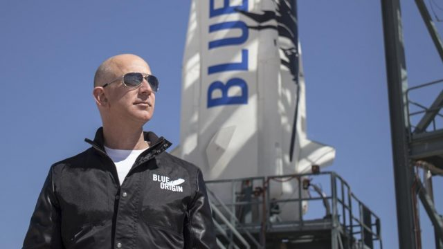 Jeff Bezos, founder of Blue Origin, inspects New Shepard's West Texas launch facility before the rocket's maiden voyage. (Photo: Courtesy, Blue Origin) by .