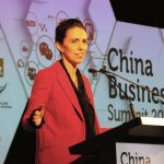 AUCKLAND, May 6, 2019 (Xinhua) -- New Zealand Prime Minister Jacinda Ardern speaks at the annual China Business Summit in Auckland, New Zealand, on May 6, 2019. New Zealand Prime Minister Jacinda Ardern reiterated on Monday the importance of New Zealand-China relations and the mutual respect and trust when dealing with disputes. (Xinhua/Lu Huaiqian/IANS) by .