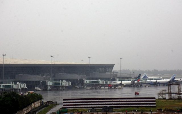 Kolkata: A view of Netaji Subhash Chandra Bose International Airport (NSCBI) in the wake of cyclone Fani, on May 3, 2019. The cyclonic storm is currently situated at about 370 km southwest of Kolkata, is likely to enter West Bengal with a wind speed of 90-100 kmph gusting to 115 kmph by midnight to Saturday early morning. (Photo: Kuntal Chakrabarty/IANS) by .