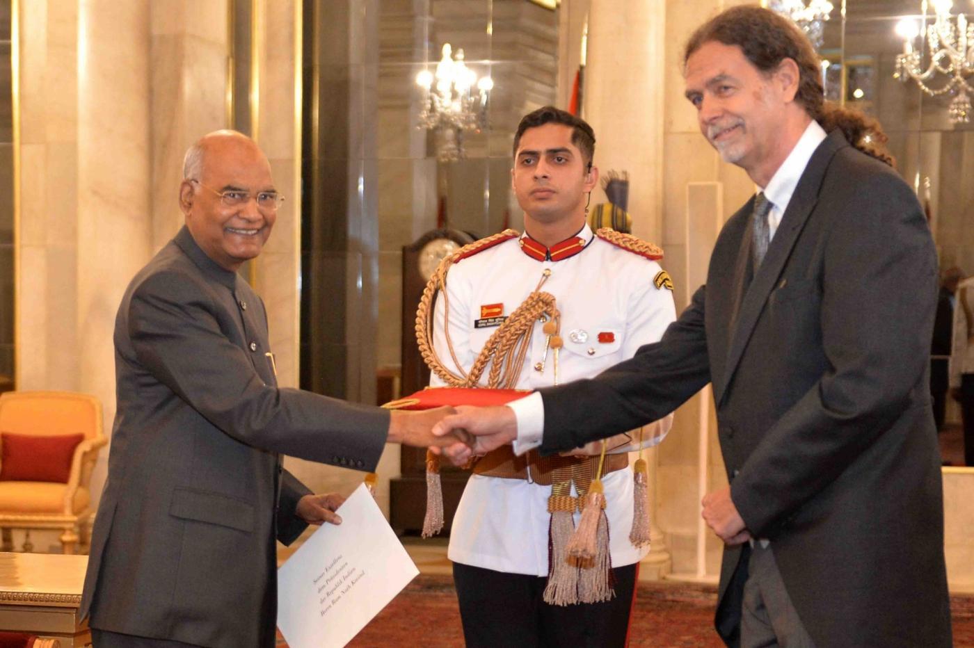 New Delhi: German Ambassador designate H.E. Walter Johannes Lindner presents his credentials to President Ram Nath Kovind at Rashtrapati Bhavan in New Delhi on May 21, 2019. (Photo: IANS/RB) by .