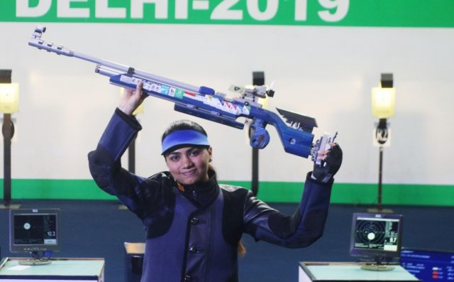 New Delhi: India's Apurvi Chandela, who won the first gold for India at the ISSF World Cup by finishing on top of the women's 10 metre Air Rifle category, in New Delhi on Feb 23, 2019. (Photo: IANS) by .
