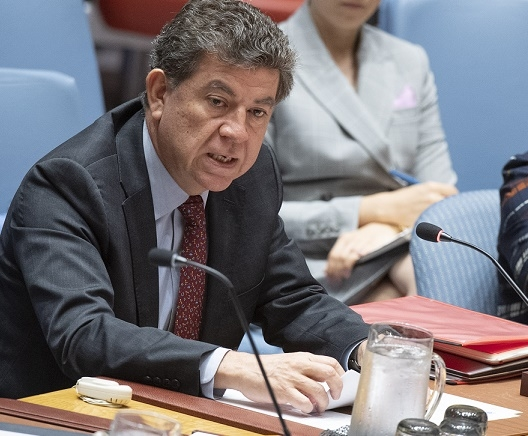 Gustavo Meza-Cuadra Velasquez, the Permanent Representative of Peru to the United Nations and Chair of the Counter-Terrorism Committee, briefs the Security Council on Monday, May 20, 2019. (Photo: UN/IANS) by .