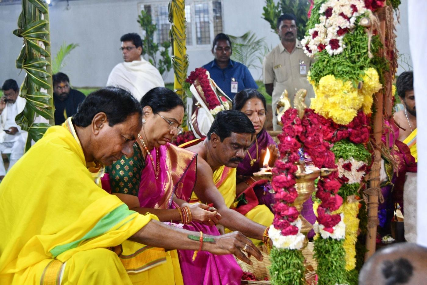 Siddipet: Telangana Chief Minister K.Chandrashekhar Rao during the five-day 'Chandi Yagam' of that began with nearly 300 priests participating in the first day's rituals amidst Vedic recitations at his farmhouse at Yerravalli village in Siddipet district on Jan 21, 2019. (Photo: IANS) by .