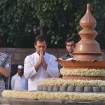 New Delhi: Congress President Rahul Gandhi and party's General Secretary (Uttar Pradesh East) Priyanka Gandhi Vadra pay homage to their father, former Prime Minister Rajiv Gandhi on his death anniversary, in New Delhi, on May 21, 2019. (Photo: IANS) by .