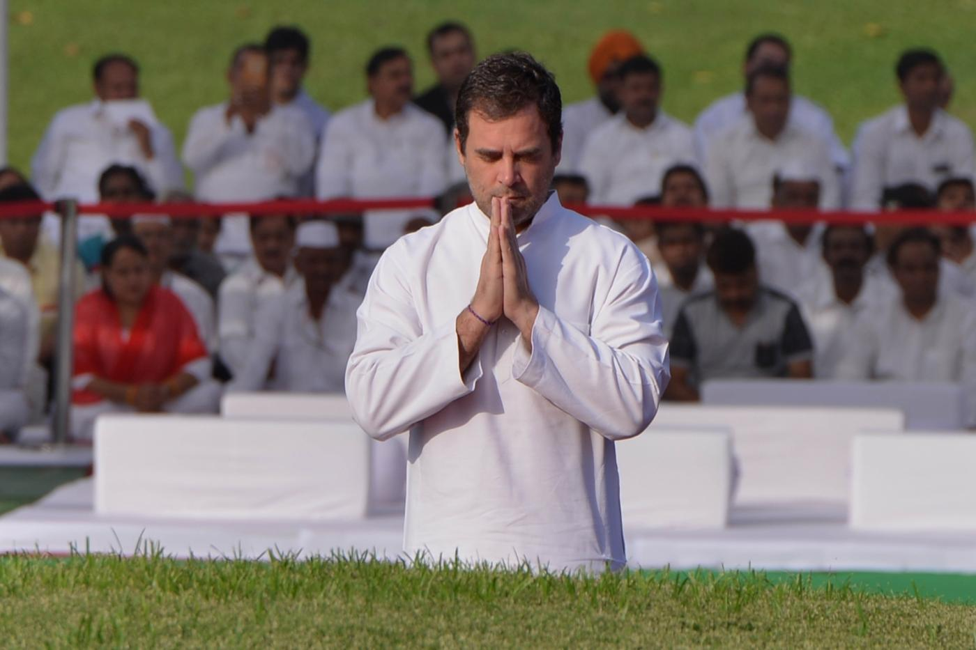 New Delhi: Congress president Rahul Gandhi pay tribute to Jawaharlal Nehru on his death anniversary at Shantivan, New Delhi on May 27, 2019. (Photo: IANS) by .