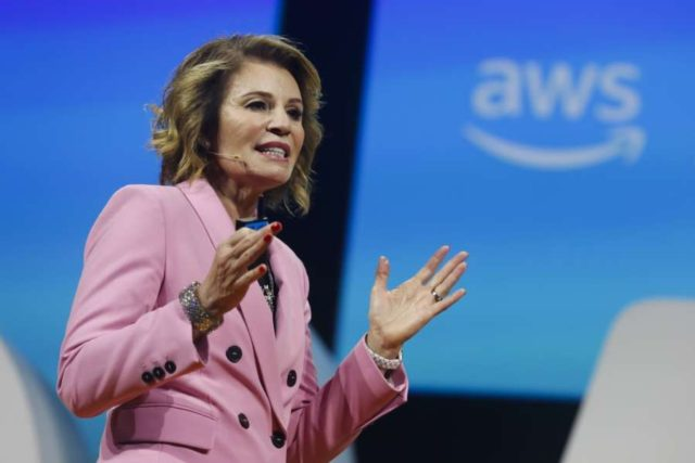 Teresa Carlson, Vice President, Worldwide Public Sector, Amazon Web Services (AWS), addressing at the AWS Public Sector Summit in Washington, DC, on Tuesday. by .