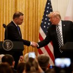 WASHINGTON D.C., Sept. 19, 2018 (Xinhua) -- U.S. President Donald Trump (R) and visiting Polish President Andrzej Duda attend a joint press conference at the White House in Washington D.C. Sept. 18, 2018. Donald Trump said on Tuesday that the U.S. was weighing the idea of establishing a permanent military base in Poland, a proposal raised by the visiting Polish leader. (Xinhua/Ting Shen/IANS) by .