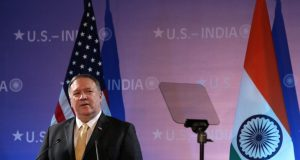 New Delhi: US Secretary of State Mike Pompeo addresses at the Embassy of the United States of America in New Delhi on June 26, 2019. (Photo: Amlan Paliwal/IANS) by .