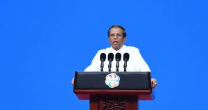 BEIJING, May 15, 2019 (Xinhua) -- Sri Lankan President Maithripala Sirisena delivers a speech at the opening ceremony of the Conference on Dialogue of Asian Civilizations (150519) at the China National Convention Center in Beijing, capital of China, May 15, 2019. (Xinhua/Ju Huanzong/IANS) by .