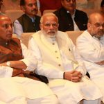 New Delhi: Prime Minister Narendra Modi with party president Amit Shah (R) and Rajnath Singh (L) at BJP parliamentary party meeting at Parliament House on March 13, 2018. (Photo: Amlan Paliwal/IANS) by .