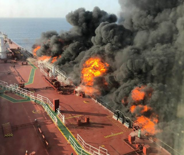 Doha: Two oil tankers were hit in a suspected attack in the Gulf of Oman and all crew members onborad were evacuated, on June 13, 2019. The tankers were struck in the same area where the US accused Iran of using naval mines to sabotage four other oil ships in an attack last month. (Photo: IANS) by .