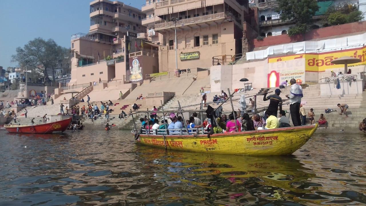 Varanasi: From Benaras to Prayag, it is a Sangam of Faith. People onboard a boat on the Ganga river. (Photo: Richa Sharma/IANS) by .