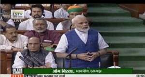 New Delhi: Prime Minister Narendra Modi replies to debate on the Motion of Thanks on the President's address in the Lok Sabha, on June 25, 2019. (Photo: IANS/LSTV) by .
