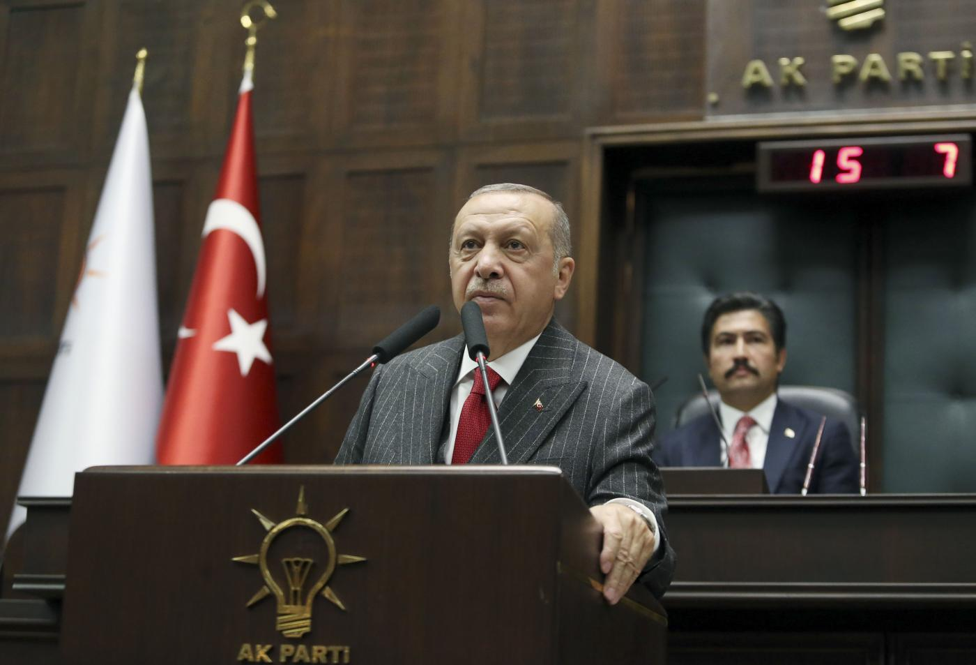 ANKARA, May 7, 2019 (Xinhua) -- Turkish President Recep Tayyip Erdogan (front) speaks to members of his ruling Justice and Development Party (AKP) during their parliamentary group meeting in Ankara, Turkey, on May 7, 2019. (Xinhua/Mustafa Kaya/IANS) by Mustafa Kaya.