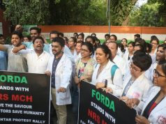 New Delhi: Medical students stage a demonstration against the recent attacks on doctors in Kolkata; in New Delhi on June 13, 2019. (Photo: IANS) by .