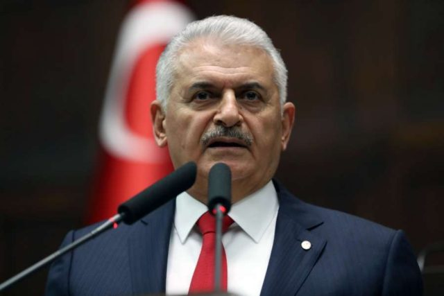 ANKARA, March 27, 2018 (Xinhua) -- Turkish Prime Minister Binali Yildirim addresses the ruling Justice and Development Party's lawmakers at parliament in Ankara, Turkey, March 27, 2018. Turkey assured Iraq that it would not carry out any cross-border military operation in Iraq without permission from the Iraqi government, said the Iraqi Prime Minister's Office Tuesday. (Xinhua/Mustafa Kaya/IANS) by .