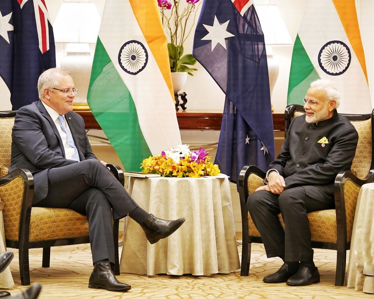 Singapore: Prime Minister Narendra Modi during a bilateral meeting with Australian Prime Minister Scott Morrison in Singapore, on Nov 14, 2018. (Photo: IANS/PIB) by .