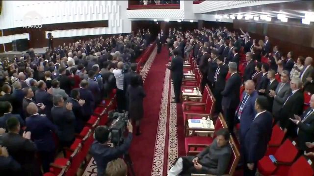 Bishkek: Pakistan Prime Minister Imran Khan has broken diplomatic protocol again this time at the opening ceremony of the SCO Summit he is seen sitting while everyone else stood to welcome the head of states entering the hall in Bishkek, Kyrgyzstan. (Screngrab: Twitter/@PTIofficial) by .