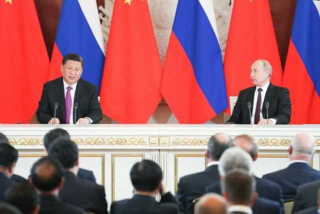 MOSCOW, June 5, 2019 (Xinhua) -- Chinese President Xi Jinping (L) and his Russian counterpart Vladimir Putin meet the press after their talks in Moscow, Russia, June 5, 2019. Xi Jinping held talks with Vladimir Putin at the Kremlin in Moscow on Wednesday. (Xinhua/Yao Dawei/IANS) by .
