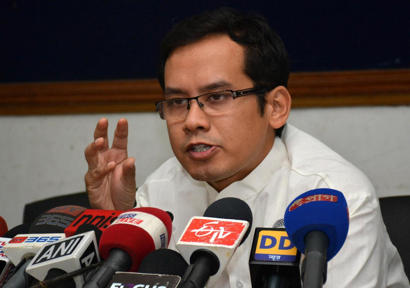 Congress MP from Kaliabor Gaurav Gogoi addresses a press conference in Guwahati on July 28, 2014. (Photo: IANS) by .