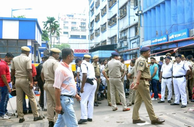 Kolkata: Security personnel deployed at NRS Medical College and Hospital where junior doctors went on a strike after one of their colleagues was allegedly attacked by the family of a patient who died, in Kolkata on June 11, 2019. (Photo: Kuntal Chakrabarty/IANS) by .