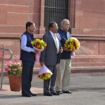 New Delhi: Principal Secretary to the Prime Minister, Nripendra Misra, National Security Adviser Ajit Doval and the Additional Principal Secretary to the Prime Minister P.K. Mishra as they wait for the arrival of Prime Minister Narendra Modi, at South Block in New Delhi, on May 31, 2019. (Photo: IANS) by .