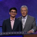 Avi Gupta, left, who won the $100,000 Teen Jeopardy quiz show contest prize, left, with the programme's quiz-master Alex Trebek. (Photo: Jeopardy Productions) by .
