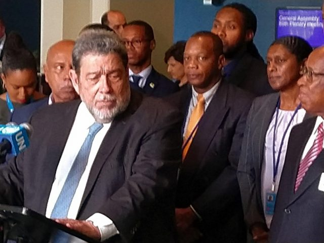 Ralph Gonsalves, the prime minister of St Vincent and Grenadines, speaks to reporters after his tiny Caribbean nation was elected to the United Nations Security Council on Friday, June 7, 2019. (Photo: Arul Louis/IANS) by .