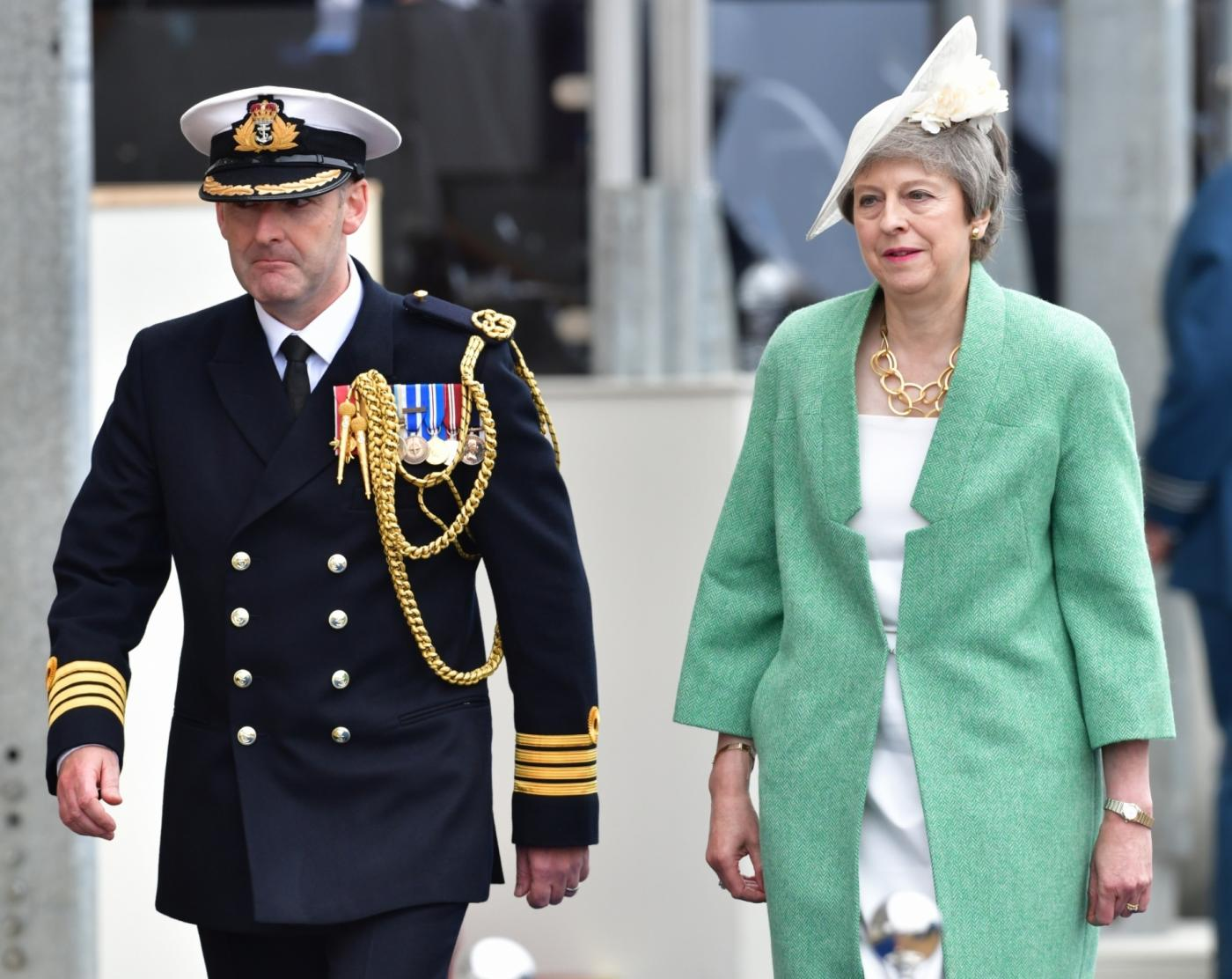 PORTSMOUTH (BRITAIN), June 5, 2019 (Xinhua) -- British Prime Minister Theresa May (R) attends the D-Day commemorations in Portsmouth, Britain, on June 5, 2019. British Prime Minister Theresa May and 15 world leaders joined Queen Elizabeth II in the English naval port city of Portsmouth Wednesday to commemorate the 75th anniversary of the D-Day landings. (Xinhua/IANS) by .