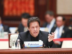 BEIJING, April 27, 2019 (Xinhua) -- Pakistani Prime Minister Imran Khan speaks at the leaders' roundtable meeting of the Second Belt and Road Forum for International Cooperation at the Yanqi Lake International Convention Center in Beijing, capital of China, April 27, 2019. (Xinhua/Pang Xinglei/IANS) by .
