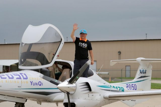 CHICAGO, June 10, 2019 (Xinhua) -- Zhang Bo waves to family members and friends after landing at an airport in Chicago, the United States, on June 9, 2019. After flying 68 days and making 50 stops, 57-year-old Bo Zhang completed his second around-the-world flight and landed in Chicago on Sunday morning. On April 2, Zhang kicked off the flight in the same airport in Chicago. In 68 days, he flied through 21 countries in three continents and over three oceans, with total mileage reaching 41,000 kilometers. (Xinhua/Wang Ping/IANS) by .