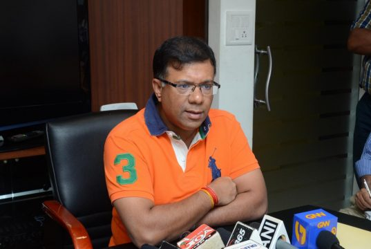 Panaji: Goa Women and Child Development Minister Vishwajit Rane addresses a press conference in Panaji, on Oct 11, 2017. (Photo: IANS) by .