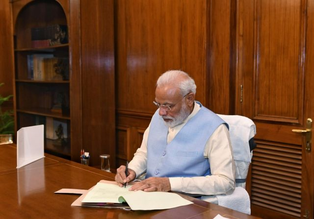 New Delhi: Prime Minister Narendra Modi takes charge of the office of the Prime Minister of India at South Block, in New Delhi on May 31, 2019. (Photo: IANS/PIB) by .