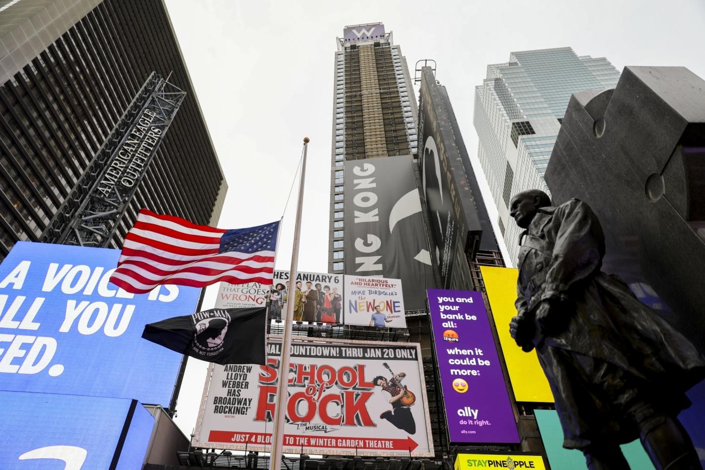 NEW YORK, Dec. 5, 2018 (Xinhua) -- The U.S. national flag is seen at half mast at Times Square in New York, the United States, on Dec. 5, 2018. A state funeral was held on Wednesday for the the 41st U.S. President George H.W. Bush. (Xinhua/Wang Ying/IANS) by .