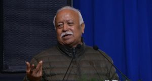New Delhi: Rashtriya Swayamsevak Sangh (RSS) chief Mohan Bhagwat addresses during a condolence meeting organised to pay tributes to writer Devendra Swaroop in New Delhi, on Jan 21, 2019. (Photo: IANS) by .
