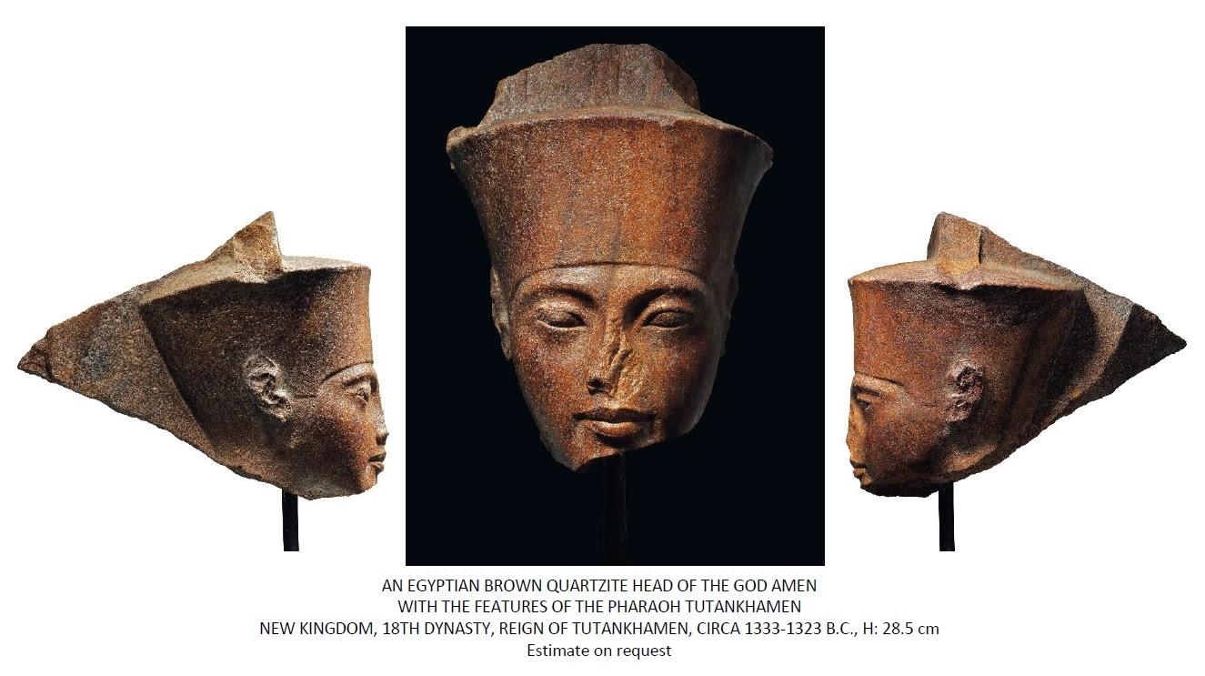 An Egyptian brown quartzite head of Tutankhamen as the God Amen (Source: Christies) by .
