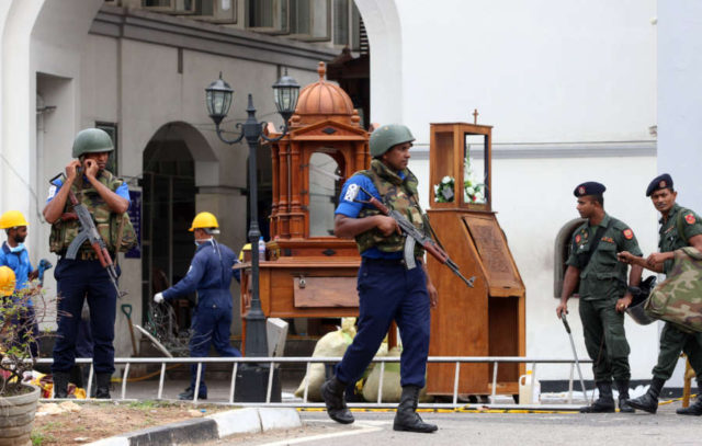 COLOMBO, April 27, 2019 (Xinhua) -- Security forces are seen outside St. Anthony's Church, one of the targets in a series of bomb blasts targeting churches and luxury hotels on Sunday, in Colombo, Sri Lanka, on April 27, 2019. (Xinhua/A. Hapuarachchi/IANS) by A.HAPUARACHCHI.