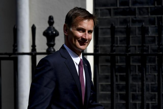 LONDON, June 20, 2019 (Xinhua) -- File photo taken on June 18, 2019 shows British Foreign Secretary Jeremy Hunt arriving at 10 Downing Street to attend a cabinet meeting in London, Britain. Former Foreign Secretary Boris Johnson and his successor as foreign secretary Jeremy Hunt emerged on June 20, 2019 as the two politicians in the final battle to become the UK's next Prime Minister. (Xinhua/IANS) by Alberto Pezzali.
