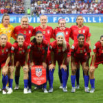 LYON, July 3, 2019 (Xinhua) -- Starting players of the United States pose for a photo prior to the semifinal between the United States and England at the 2019 FIFA Women's World Cup at Stade de Lyon in Lyon, France on July 2, 2019. (Xinhua/Xu Zijian/IANS) by Xu Zijian.