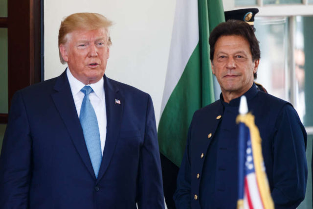 WASHINGTON D.C., July 23, 2019 (Xinhua) -- U.S. President Donald Trump (L) welcomes Pakistani Prime Minister Imran Khan at the White House in Washington D.C. July 22, 2019. (Photo by Ting Shen/Xinhua/IANS) by Liu Jie.