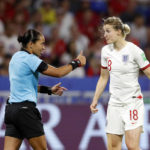 LYON, July 3, 2019 (Xinhua) -- Ellen White (R) of England argues with referee Edina Alves Batista of Brazil during the semifinal between the United States and England at the 2019 FIFA Women's World Cup at Stade de Lyon in Lyon, France on July 2, 2019. (Xinhua/Ding Xu/IANS) by Ding Xu.