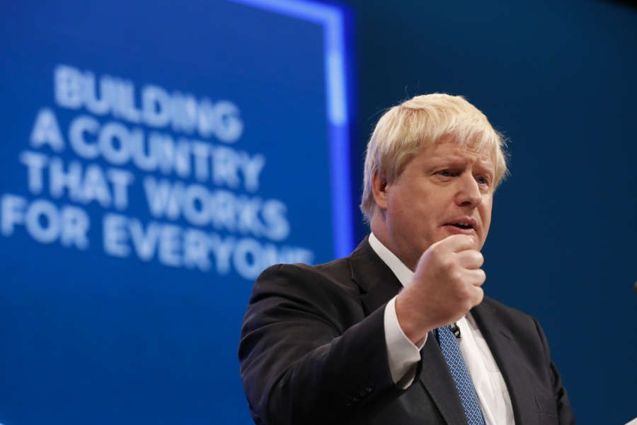LONDON, June 20, 2019 (Xinhua) -- File photo taken on Oct. 3, 2017 shows then British Foreign Secretary Boris Johnson delivering his keynote speech during the Conservative Party Annual Conference 2017 in Manchester, Britain. Former Foreign Secretary Boris Johnson and his successor as foreign secretary Jeremy Hunt emerged on June 20, 2019 as the two politicians in the final battle to become the UK's next Prime Minister. (Xinhua/IANS) by .