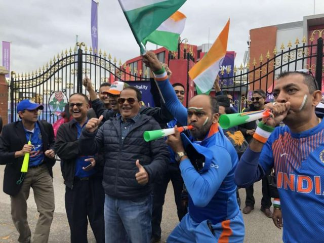 Manchester: Indian fans gather outside the Old Trafford stadium ahead of the 46th match of World Cup 2019 between India and New Zealand in Manchester, England on July 9, 2019. (Photo: IANS) by .