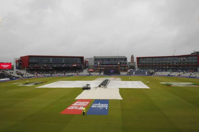 Manchester: A view of the pitch at Old Trafford covered with plastic sheets during rains that interrupted the 1st Semi-final match of 2019 World Cup between India and New Zealand in Manchester, England on July 9, 2019. (Photo: Surjeet Kumar/IANS) by .